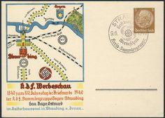 Germany, German Empire, Deutsches Reich 1940, 3 Pfg.-GA-Privatpostkarte, Straubing, 100 Jahre Briefmarken, mit Sonderstempel, ungebr. (Mi.-Nr.PP122 C111 02). Price Estimate (8/2016): 10 EUR. Unsold.