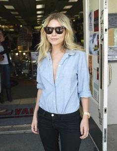 light denim shirt, dark denim jeans. perfect fit