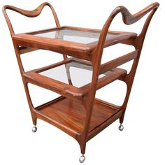 Scapinelli Bar Cart   From a unique collection of antique and modern bar carts at https://www.1stdibs.com/furniture/tables/bar-carts/