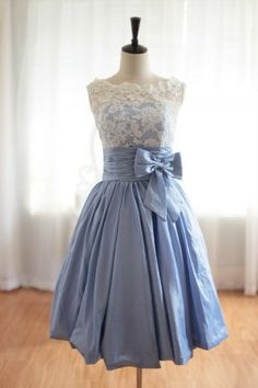 Lace Blue Taffeta Wedding Dress/Bridesmaid Dress in Knee Short Length