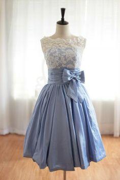 Lace Blue Taffeta Wedding Dress/Bridesmaid Dress in Knee Short Length