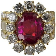 No Heat Ruby Diamond Gold Ring | From a unique collection of vintage more rings at https://www.1stdibs.com/jewelry/rings/more-rings/