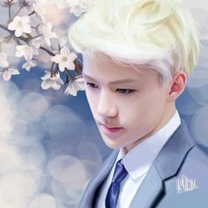 Sehun fanart - cherry blossom My sehun board's 700th pic
