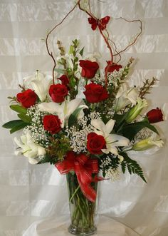 Red and White Funeal Arrangement