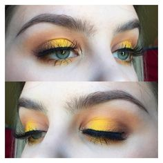 """Jessica on Instagram: """"Last post of this yellow halo eye. Check out... ❤ liked on Polyvore featuring beauty products and makeup"""