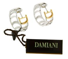 www.jewelrybydavid.com Damiani Damianissima earrings in 18 karat pink & white gold. Link to the item https://www.jewelrybydavid.com/collections/damiani/products/damiani-damianissima-earrings-in-18-karat-pink-white-gold