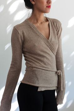 the sexy ballet inspired #souchi sophia merino wrap sweater with extra long sleeves (now on sale)!