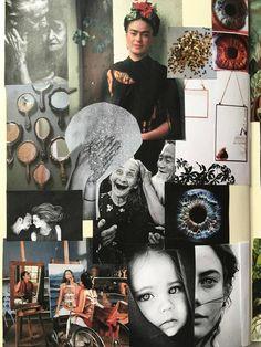 Moodbord 1 - Concept 1: - Spiegel -> Ze maakte haar zelfportretten altijd in een spiegel - ogen = spiegel van de ziel -Lover en magic moeten opvallen - groot en zwaar lettertype -woorden spiegelen - spiegelbeeld