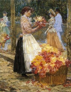 Woman Selling Flowers - Childe Hassam