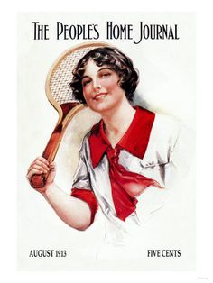 Lovely red and white tennis wear on the August 1913 cover The People's Home Journal. #vintage #Edwardian #tennis #sports