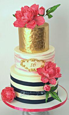 Grace's 16 Birthday Grace's 16 Birthday Sweet 16 Birthday Cake for Grace! White Velvet Cake, Homemade lemon curd, Vanilla Almond Buttercream. Buttercream... #antique-gold #gold #luster #rose-gold #silver #metallic #featured-cakes #cakecentral