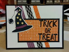 Stampin Fun : Happy Hauntings DSP and washi tape. The hat and spider are from Howl-O-Ween Treat.