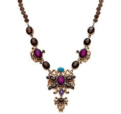 Nicky Butler Multi Gemstone Filigree Drop Necklace - SMOKEY QUARTZ