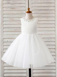 A-Line/Princess Tea-length Flower Girl Dress - Tulle Sleeveless Scoop Neck With Rhinestone