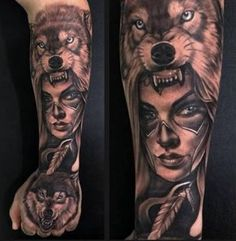 New Ideas For Tattoo Wolf Indian Native Americans Spirit Animal Head Tattoos, Skull Tattoos, Animal Tattoos, Body Art Tattoos, Wolf Girl Tattoos, Indian Girl Tattoos, Tattoo Wolf, Native American Tattoos, Native Tattoos