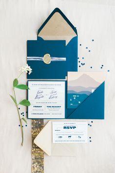Rich navy blue invitations: http://www.stylemepretty.com/oregon-weddings/mt-hood/2015/08/14/romantic-peach-navy-oregon-resort-wedding/   Photography: Christa Taylor - http://www.christataylorphotography.com/