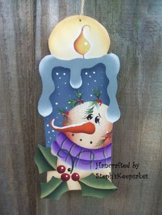 Winter Thyme Candle Ornament Snowman by stephskeepsakes on Etsy Christmas Wood, Christmas Snowman, Christmas Projects, Holiday Crafts, Christmas Time, Snowman Decorations, Snowman Crafts, Christmas Decorations, Painted Ornaments