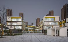 Completed in 2017 in Hangzhou Shi, China. Images by Su Shengliang. Intervention Hangzhou Gudun Road Primary School, built as the Liangzhu Cluster in the northwest of Hangzhou is positioned as a 36 class public. Education Architecture, School Architecture, Residential Architecture, Architecture Design, Architecture Collage, School Building Design, School Design, Hangzhou, Primary School