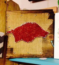 Arkansas Razorback in String Art on Burlap State Shape on Wood Plaque