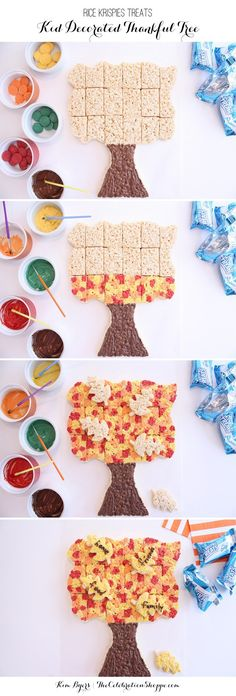 Rice Krispies Treats Thankful Tree Pull-A-Part for Thanksgiving! Kids can paint (with colored chocolate) while you cook! Holiday Snacks, Holiday Fun, Rice Krispie Treats, Rice Krispies, Thankful Tree, Thanksgiving Desserts, Kids Thanksgiving, Fun Crafts For Kids, Toddler Crafts