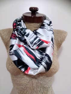 Check out this item in my Etsy shop https://www.etsy.com/listing/235907599/unique-brush-print-scarf-infinity-white