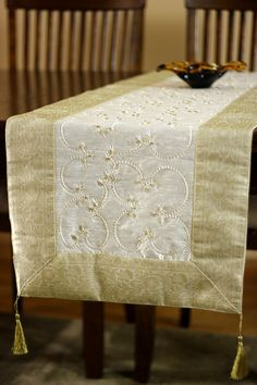 Hand Embroidered 72-Inch by 17-Inch Table Runner by BanarsiDesigns