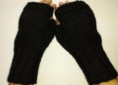 Fingerlose Handschuhe schwarz Wolle Alpaka von frostpfoetchen