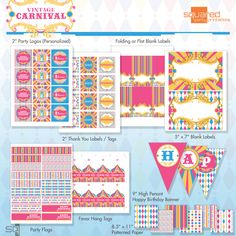 Vintage Carnival Circus Pink Printable by 2PartyPrintables on Etsy, $15.00