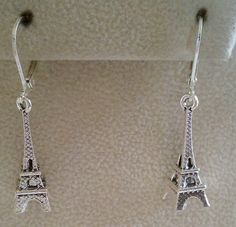 Eiffel Tower Tibetan Silver Leverback Earrings Free Shipping by PersnicketyPatty on Etsy