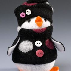 DIY a simple Sock Penguin with socks and Styrofoam shapes. Adorably easy - no sewing! Fun for kids, too, and they can use favorite socks. Snowman Crafts, Christmas Projects, Holiday Crafts, Christmas Crafts, Sock Snowman Craft, Penguin Craft, Sock Toys, Sock Crafts, Sock Animals