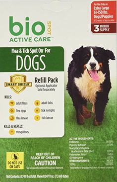 Bio Spot Active Care Flea and Tick Spot On for Extra Large Dogs (61-150 lbs.) 3 Month Refill *** Details can be found by clicking on the image.