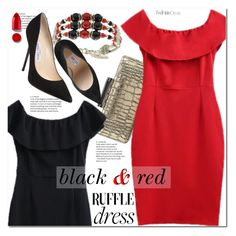 """black &red"" by duma-duma ❤ liked on Polyvore featuring Diane Von Furstenberg, Jimmy Choo and Rodin"