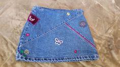 Gap KIDS Girls Denim Jeans Mini Skirt Embroidery Flowers Patches sz 6 #GapKids #BacktoSchoolEveryday