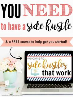 I love these! There are many ways to make money from home. But almost all of them were scams! These are actual work at home ways to make money from a side hustle. These are all proven ways to make money online and make money form home. You Need to have a Side Hustle & a FREE Course to Help Get You Started!
