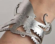 Striking Silver Leather Octopus Bracelet - Laser Cut. $30.00, via Etsy.