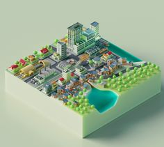 Showcase and discover creative work on the world's leading online platform for creative industries. Isometric Map, Isometric Design, 3d Design, Game Design, Design City, Plan Design, Low Poly Models, 3d Artwork, 3d Prints