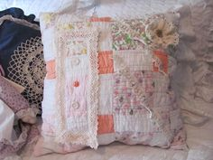 Patchwork Throw Pillow made from Cutter Quilt by VintageLoversShop, $40.00