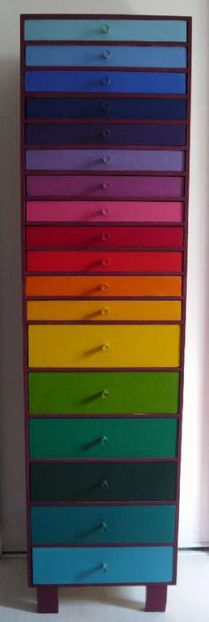 colour coded drawers....this could help find and organize those 101 little things that disappear around the home/studio.
