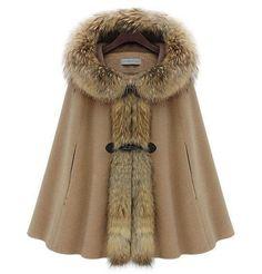 O Inverno das mulheres Gola de pele de vison Batwing Cape Poncho Manto com capuz casaco outwear Jacket