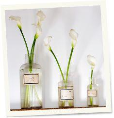 8a - A decoração para a casa de campo não precisa ser, necessariamente, com flores de campo coloridas: simples arranjos brancos são uma opção de grande estilo! Em uma garrafa coloque algumas flores brancas, pode ser a tulipa ou o copo de leite, por exemplo. Isso dará um novo rosto ao seu ambiente. Importante: escolha um tipo de flor por vaso!