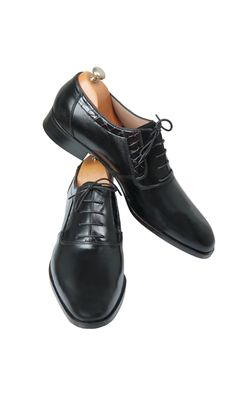 1ee26a323cd Black Leather and Crocodile Lace-Up Shoes Perfectly made for your suits  Width fitting Medium