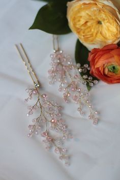 Bridal Hair Pins Blush Crystal Hair Pins Rose Quartz by EnzeBridal