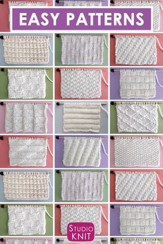 Collect simple Knit Stitch Patterns with different combinations of simple knits and purl stitches. Collect simple Knit Stitch Patterns with different combinations of simple knits and purl stitches.Perfect for Beginning Knitters! Enjoy this free collection Knitting Videos, Knitting For Beginners, Knitting Stitches, Free Knitting, Free Crochet, Knit Crochet, Knitting Scarves, Vintage Knitting, Knitting Bags