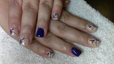 Full Acrylic, beige & purple. Hand paint flower.