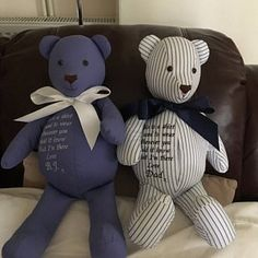 Items similar to Memory and Keepsake Elephant made from babygrows. on Etsy Teddy Bear Patterns Free, Teddy Bear Sewing Pattern, Baby Sewing Projects, Sewing Projects For Beginners, Personalised Family Tree, Memory Crafts, Blue Crafts, Memory Pillows, Diy Stuffed Animals