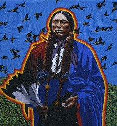 Beaded picture of Quanah Parker, 1995 -by Marcus Amerman, Choctaw