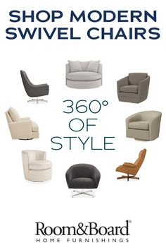 Settle into a swivel chair that adds modern design to any room in your home.