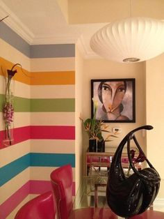 I'd love to do stripes like this in my hallway. Not sure I have the nerve, though. Wait, yes I do!