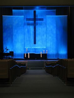 Church stage from Faith Lutheran in Troy, MI....I like that with the up light and down light behind the fab