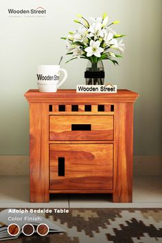Adolph bedside table is one such example of contemporary and conventional furniture design. Its slotted detail is its prominent feature and drawer and door use lengthier slots as handles. Made out of Sheesham, it sticks to high quality.  #Woodenstreet #bedsidetable #furniture #Modernfurniture